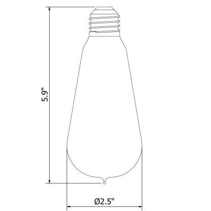 6 Watt Dimmable Lantern Filament LED E26 Clear Edison