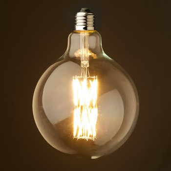 12 Watt Dimmable Filament LED E26 Clear 125mm round bulb