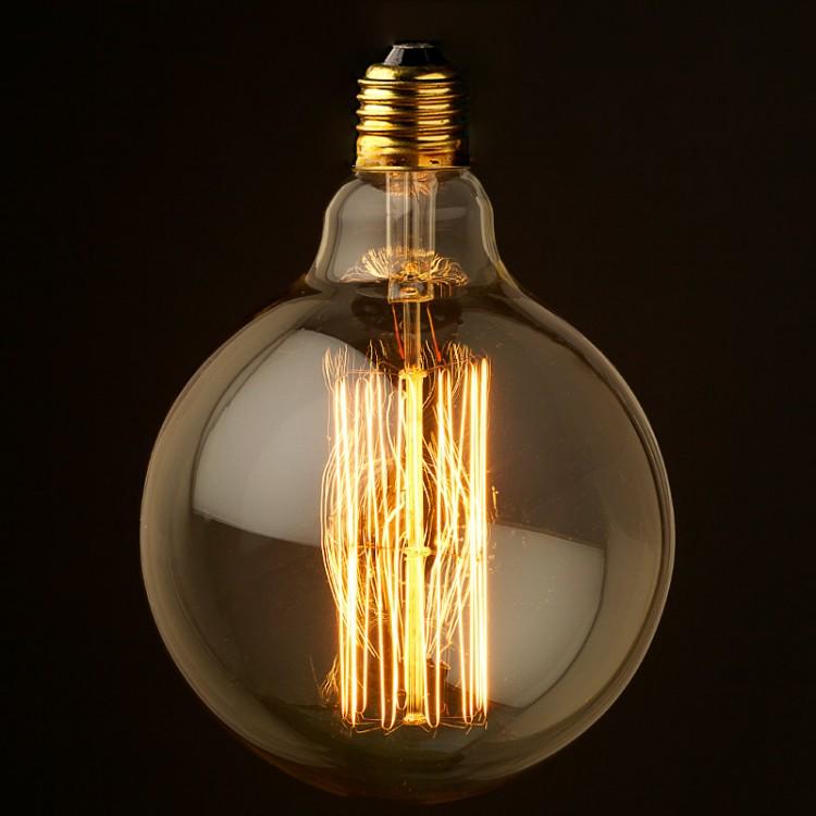 Vintage Edison fancy round tungsten filament bulb 125mm E26