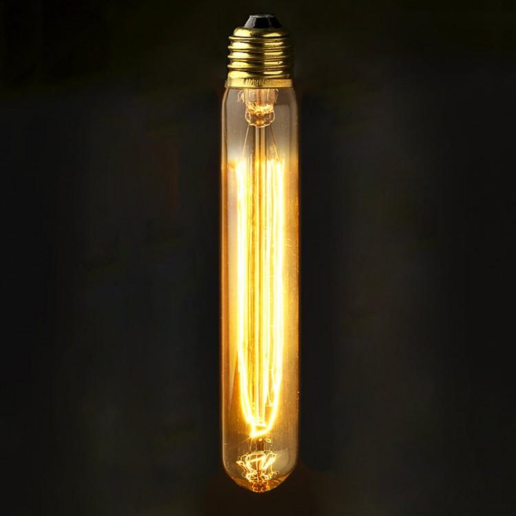 Vintage Edison medium tube filament smoke bulb E26