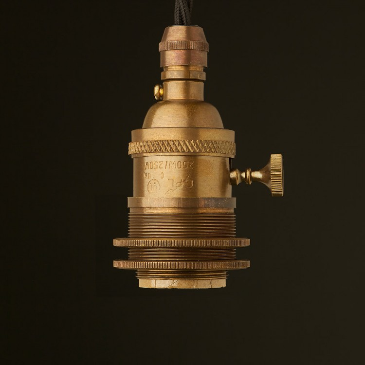 Brass E26 Edison Screw 3 way switched lampholder