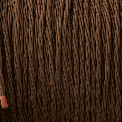 Cloth covered braided 3 core lighting Flex 120V dark brown