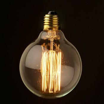 Vintage 110V Edison Round Squirrelcage tungsten filament bulb