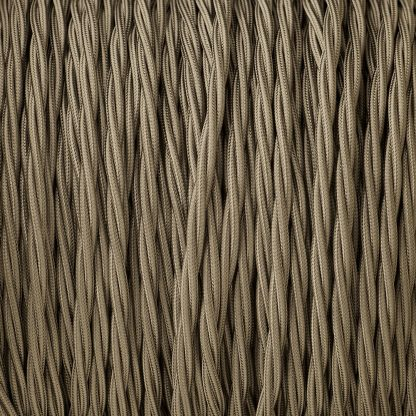 Cloth covered braided 3 core lighting Flex 120V elephant grey