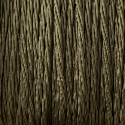 Cloth covered braided 3 core lighting Flex 120V khaki