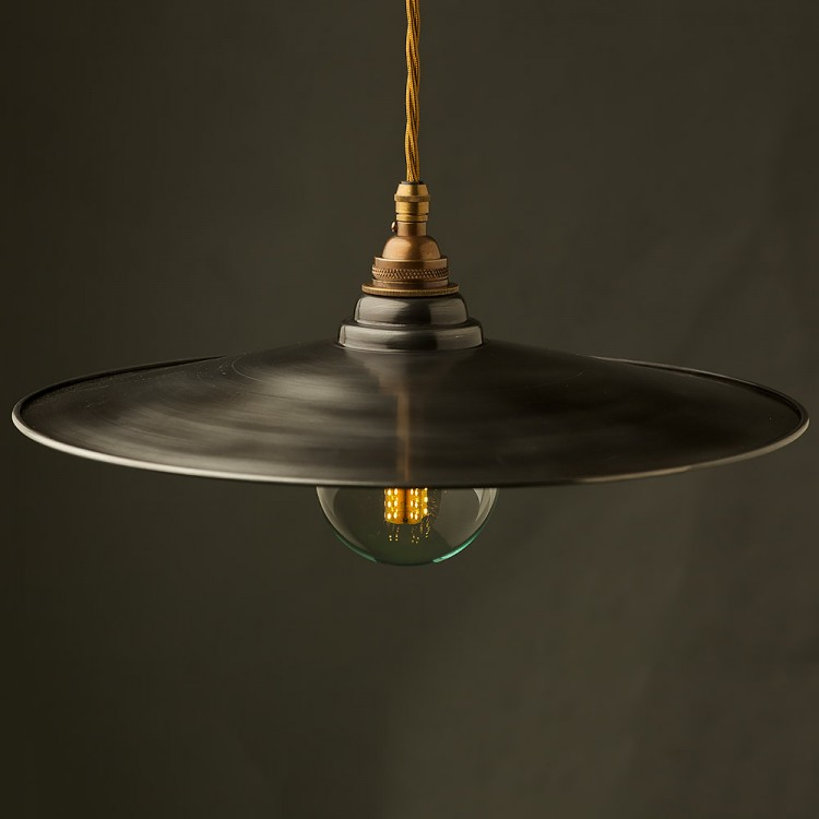 Rustic Steel Flat Shade Brass E26 Pendant