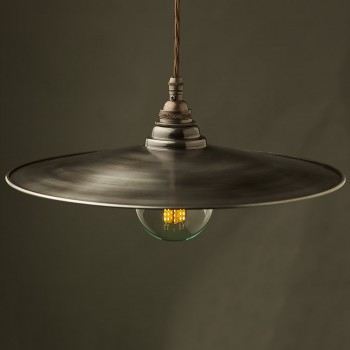 Rustic Steel Flat Shade Pendant with Brass E26