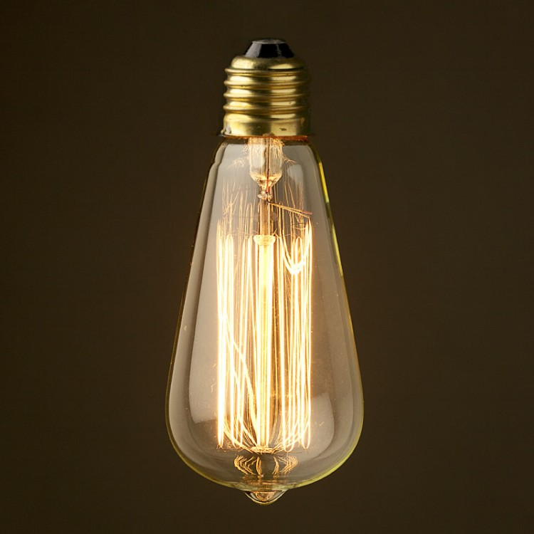 Vintage Edison Squirrel Cage Teardrop filament bulb E26 150mm