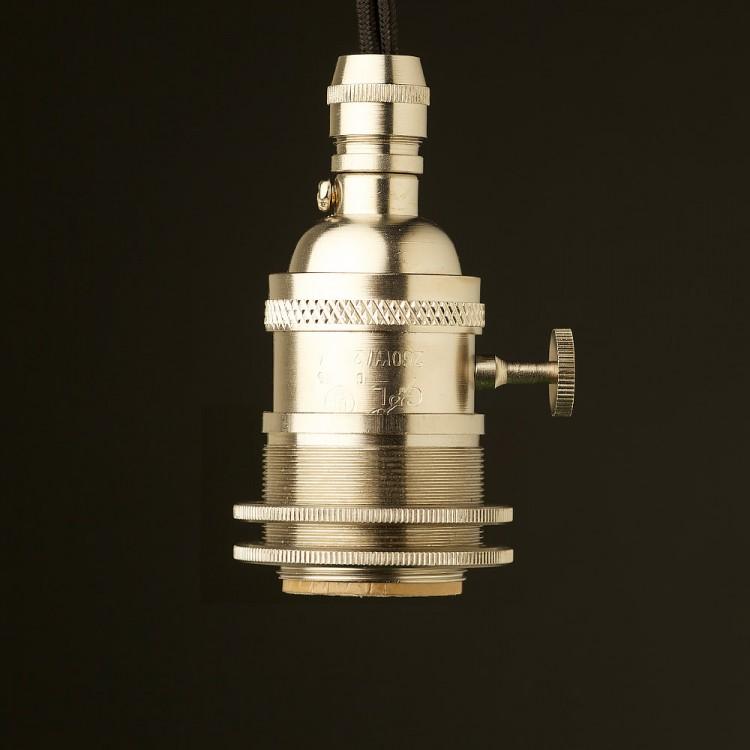 Nickel E26 Edison Screw 3 way switched lampholder