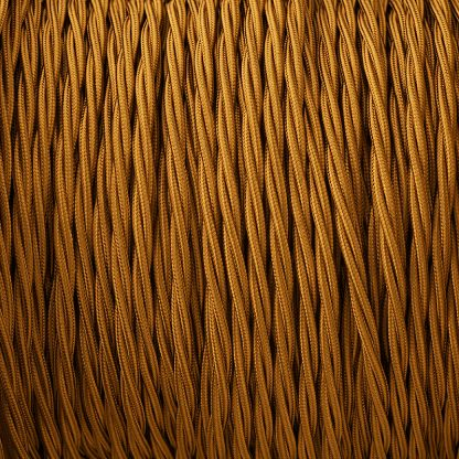 Cloth covered braided 3 core lighting Flex 120V old gold