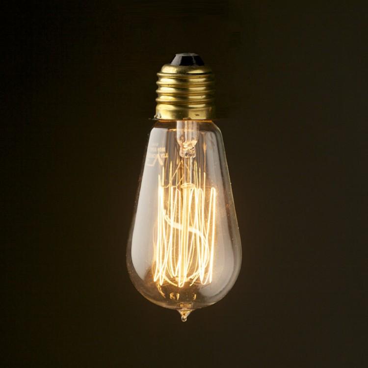 Edison vintage Squirrel Cage Teardrop filament Bulb 110V E26