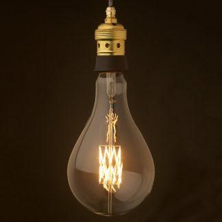 Edison style light bulb E39 Brass & black ceramic pendant with A175 LED