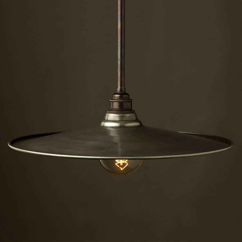 Antiqued Steel Non Gallery Type Flat Light Shade Edison
