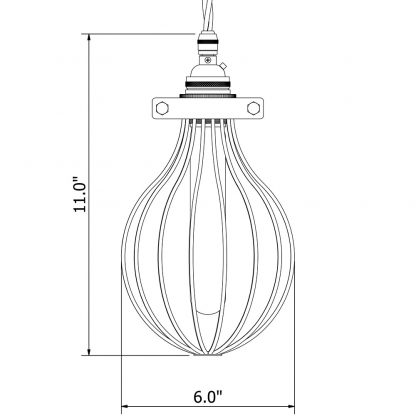 Whisk Shaped Antiqued Cage Pendant dimensions