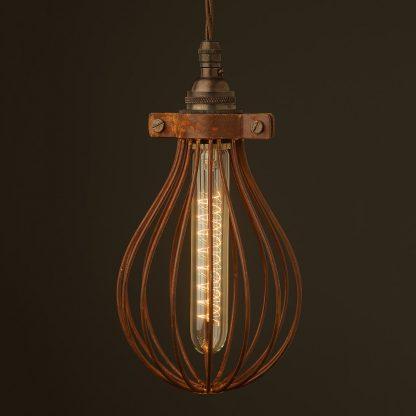 Whisk Shaped Antiqued Cage Pendant and vintage spiral tube bulb