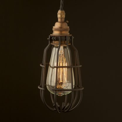 Brass socket enclosed cage pendant