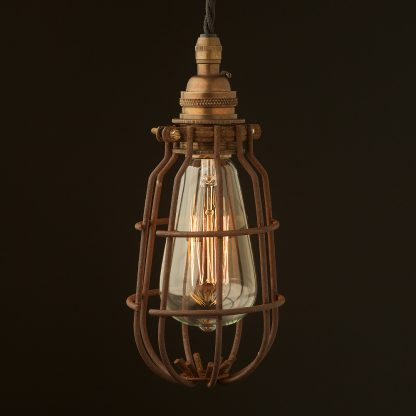Antique brass socket enclosed cage pendant rusty cage