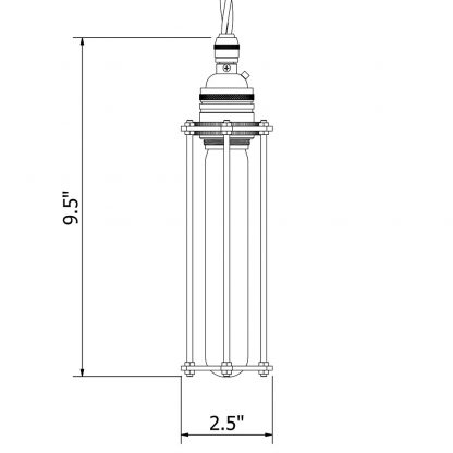 Brass socket tube cage pendant dimensions