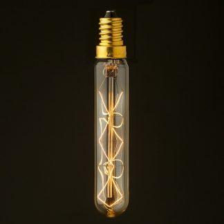 Vintage Edison tungsten E12 tube filament bulb