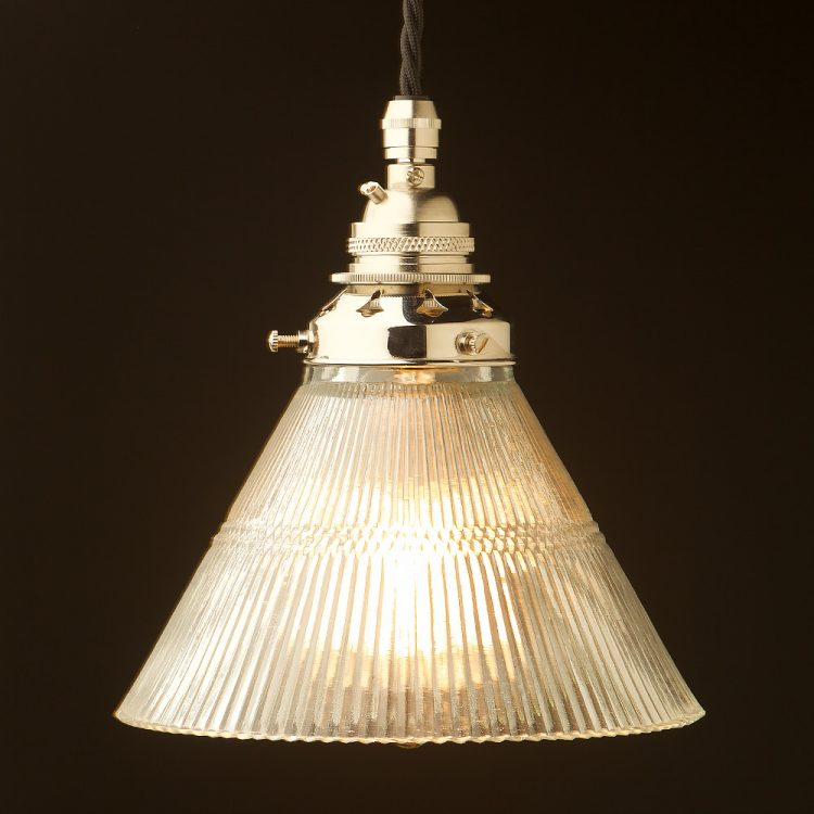 Glass cone ribbed Pendant