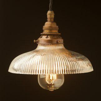 Glass dish ribbed Pendant Antique brass