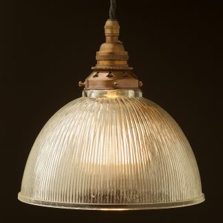 Glass dome ribbed Pendant Antique brass
