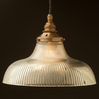 Large glass dish ribbed Pendant Antique brass