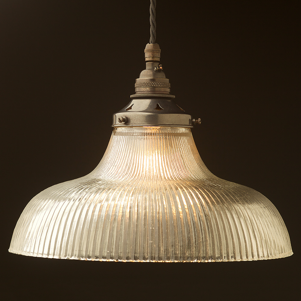 Large Glass Dish Ribbed Pendant Edison Light Globes Llc