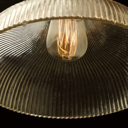 Large glass dish ribbed Pendant