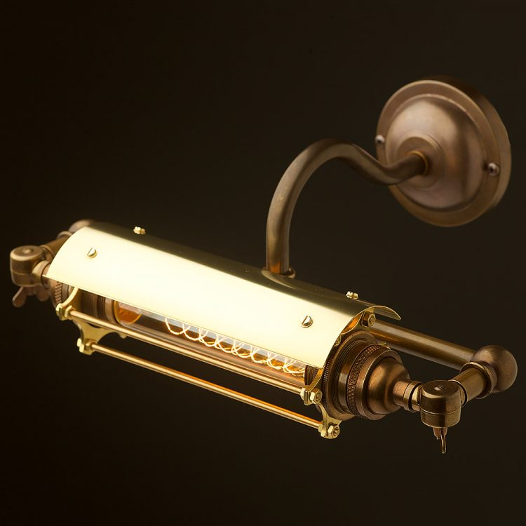 Vintage Brass Tube Caged Picture Light