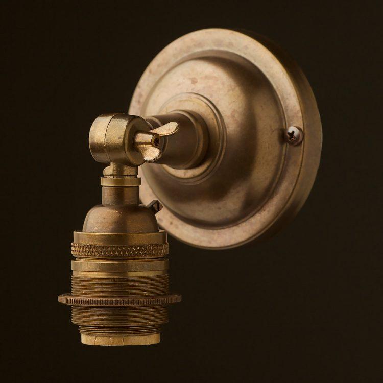 Antiqued brass Wingnut Wall mount E26 socket