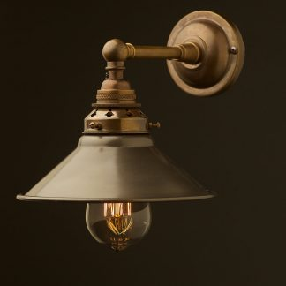 Antique Brass Straight arm wall sconce steel hat shade