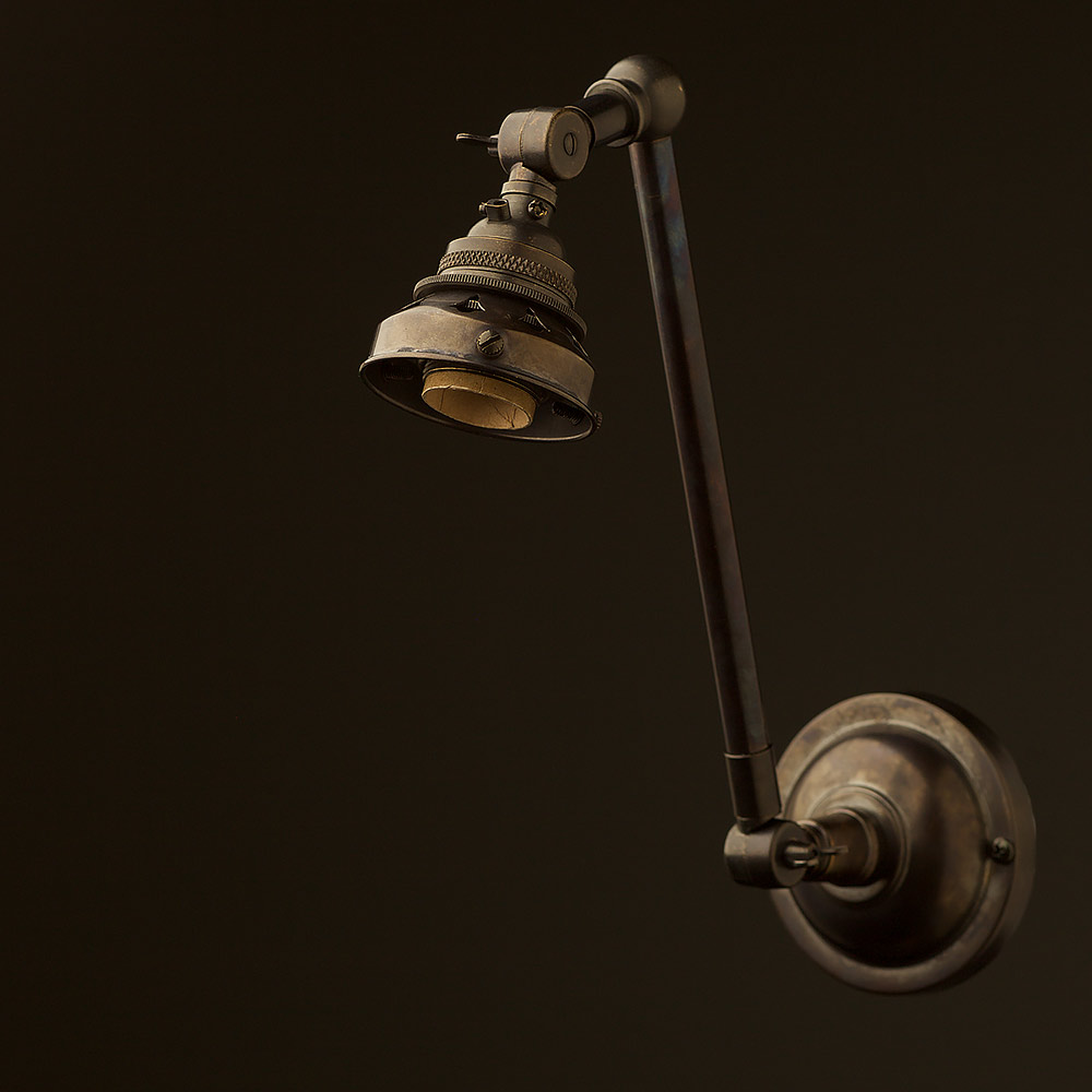 Bronze Wall Sconce With Shade : Bronze Adjustable arm wall sconce shade