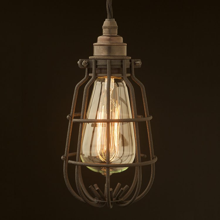 Enclosed Light Bulb Black Crackle Cage Fitting
