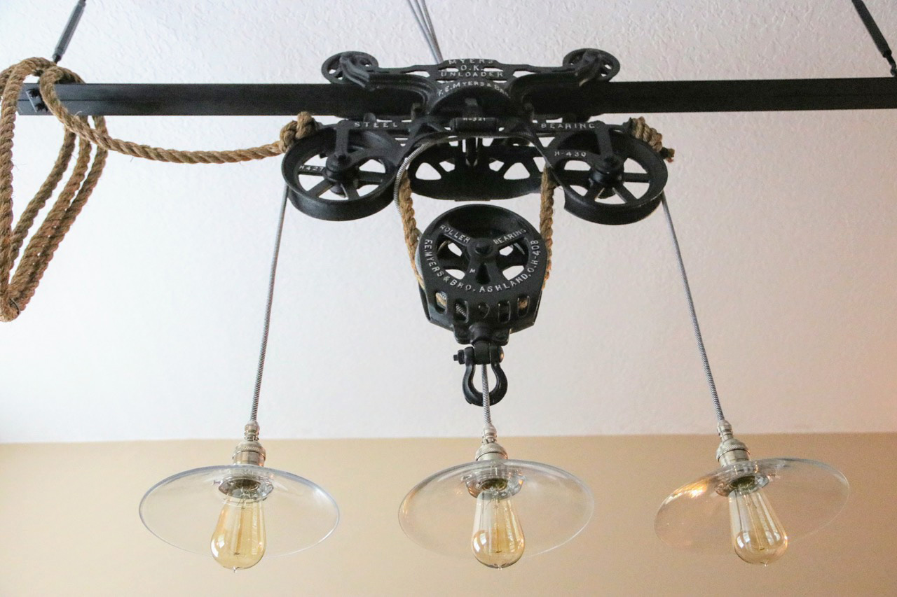 1904 10 Vintage Myers O K Ornamental Cast Iron Unloader Farm Hay Trolley Pulley This Custom Pendant Light Is Made By Suspending Three Glass