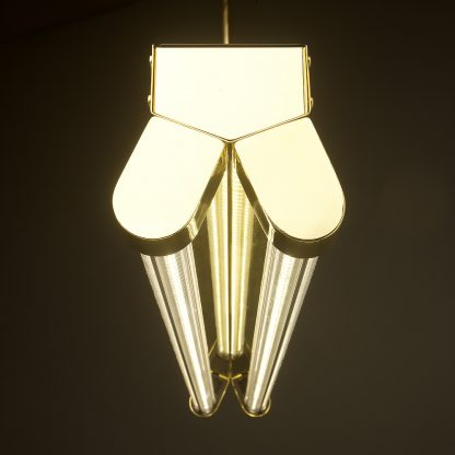 Polished Brass Art Deco Twin LED Tube Light clear end