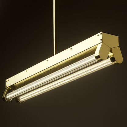 Polished BraPolished Brass Art Deco Twin LED Tube Light clear sidess Art Deco Twin LED Tube Light side
