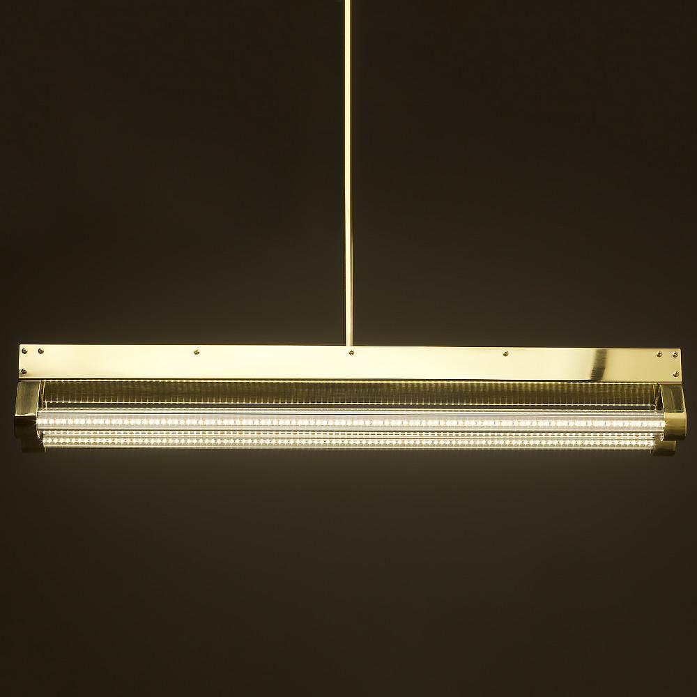 Led Light Fittings For Offices: Polished Brass Art Deco Twin LED Tube Light • Edison Light