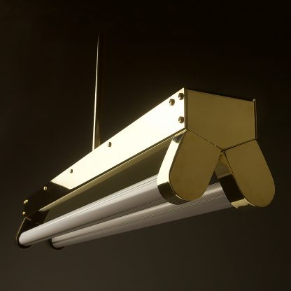 Polished Brass Art Deco Twin LED Tube Light translucent off