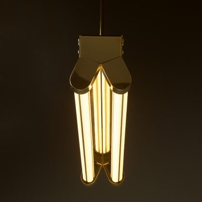 Polished Brass Art Deco Twin LED Tube Light translucent end
