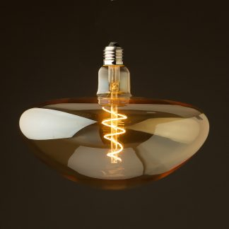 4 Watt dimmable filament LED amber glass mushroom globe