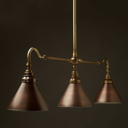 Antique Brass single drop Billiard Table Light bronze cone