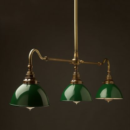 Antique Brass single drop Billiard Table Light green dome