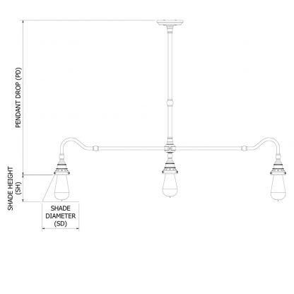 Antique Brass single drop Billiard Table Light dimensions