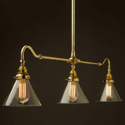 New Brass single drop Billiard Table Light glass cone