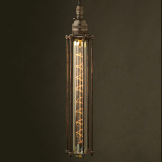 Bronze socket tube long cage pendant spiral tube globe