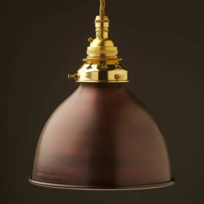 Bronze dome shade Brass E26 Pendant New Brass