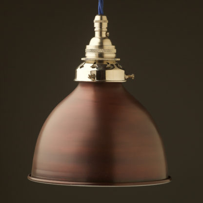 Bronze dome shade Brass E26 Pendant Nickel