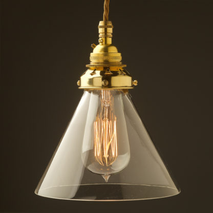 Clear glass coolie Pendant New Brass