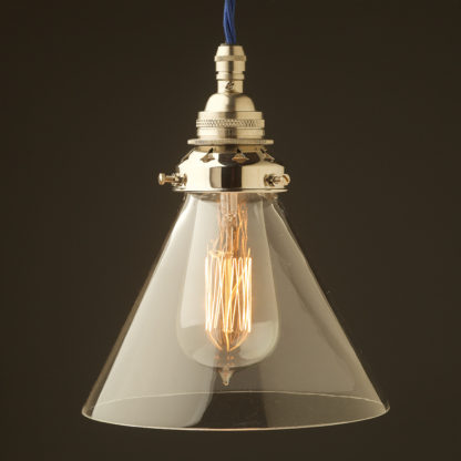 Clear glass coolie Pendant Nickel